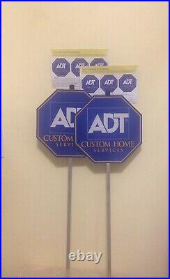 (2) Adt Security Yard Sign (6) Free Window Stickers Weatherproof Uv Resistant