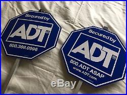 2 NEW ADT Lawn Sign's + 3 Burglar Alarm Sticker Door Window Home Security