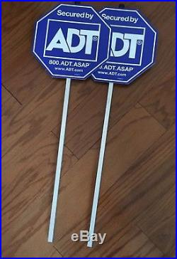2 Pair of ADT Home Security Yard Sign Alarm FREE SHIPPING