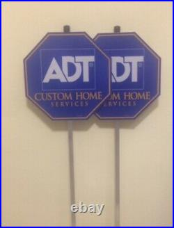 New (2) Adt Security Yard Sign Weatherproof And Uv Resistance