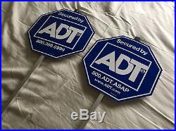 TWO NEW ADT Lawn Sign + 4 Burglar Alarm Sticker Decal Door Window Home Security
